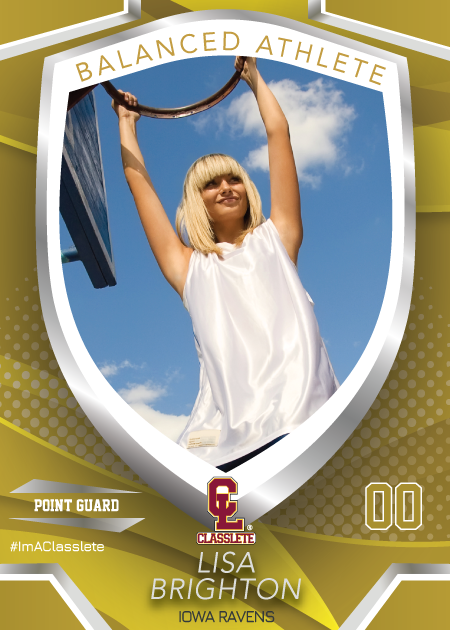 Primetime Bronze Classlete Sports Card Front Female Basketball Player