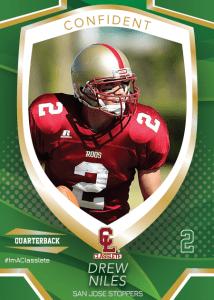 Primetime Dark Green Classlete Sports Card Front Male Football Quarterback
