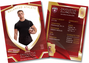 Primetime Classlete Sports Card Front Back Male Football Player