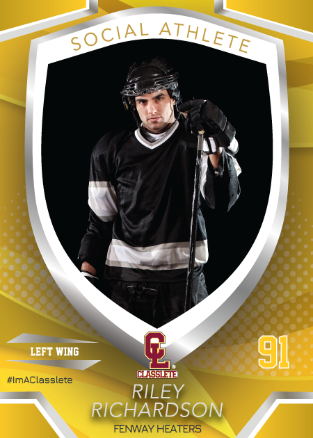 Primetime Classlete Sports Card Front Male Hockey Player