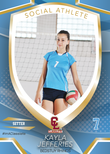 Primetime Light Blue Classlete Sports Card Front Female Volleyball Player