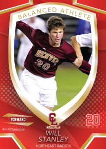 Primetime Light Red Classlete Sports Card Front Male Soccer Player