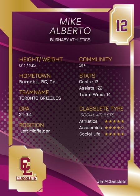 Primetime Purple Classlete Sports Card Back Male Soccer Player