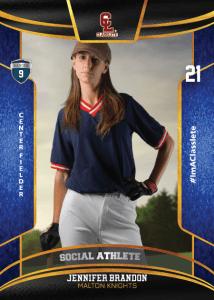 Royalty Dark Blue Classlete Sports Card Front Female Baseball Player