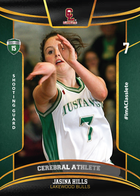 Royalty Dark Green Classlete Sports Card Front Female White Basketball Player
