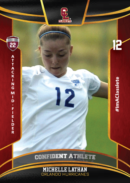 Royalty Dark Red Classlete Sports Card Front Female Soccer Player