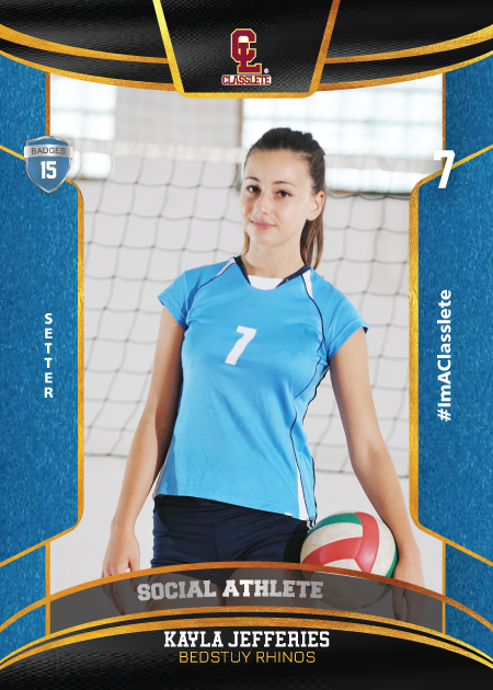 Royalty Light Blue Classlete Sports Card Front Female Volleyball Player