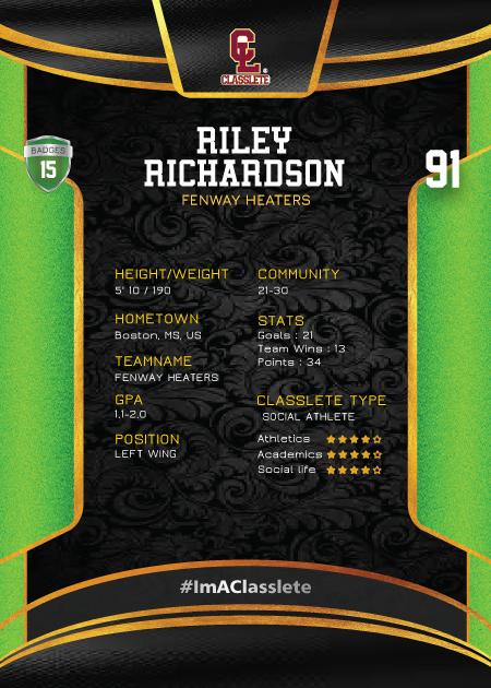 Royalty Light Green Classlete Sports Card Back Male Hockey Player