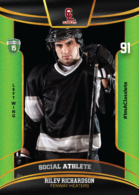 Royalty Light Green Classlete Sports Card Front Male Hockey Player