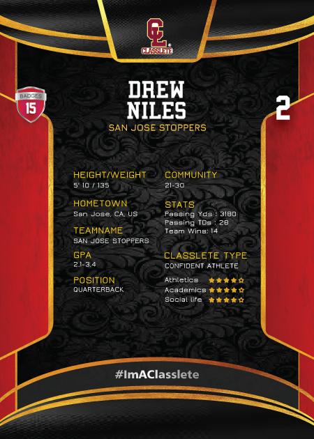 Royalty Light Red Classlete Sports Card Back Male Football Quarterback