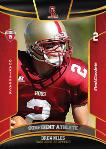 Royalty Light Red Classlete Sports Card Front Male Football Quarterback