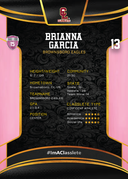 Royalty Pink Classlete Sports Card Back Female Hockey Player