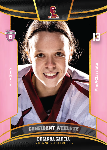 Royalty Pink Classlete Sports Card Front Female Hockey Player