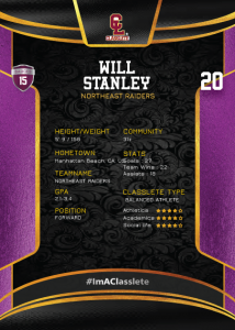 Royalty Purple Classlete Sports Card Back White Male Soccer Player