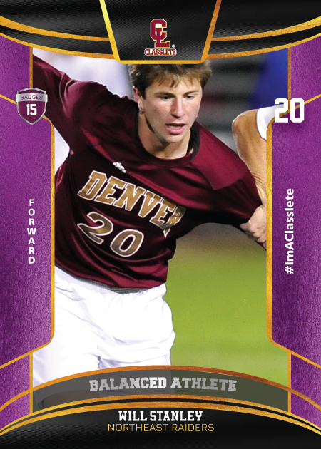 Royalty Purple Classlete Sports Card Front White Male Soccer Player