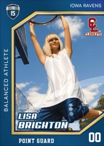 Celebrity Dark Blue Classlete Sports Card Front Female Basketball Player