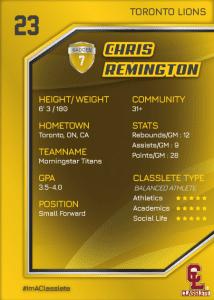 Celebrity Gold Classlete Sports Card Back Male Basketball Player