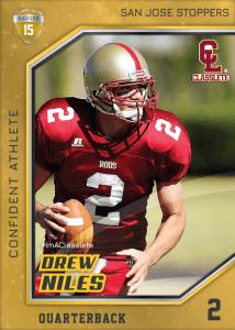 Celebrity Gold Classlete Sports Card Back Male Football Quarterback
