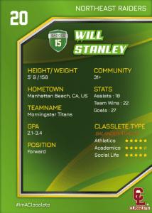 Celebrity Light Green Classlete Sports Card Back Male White Soccer Player