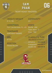 Edgy Bronze Classlete Sports Card Back Male Volleyball Player