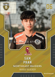 Edgy Bronze Classlete Sports Card Front Male Volleyball Player