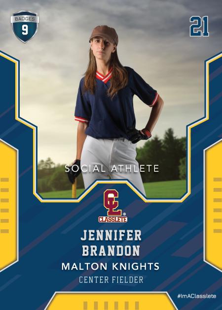 Edgy Dark Blue Classlete Sports Card Front Female Baseball Player
