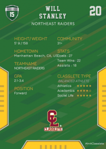 Edgy Dark Green Classlete Sports Card Back Male White Soccer Player