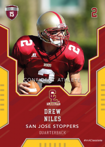 Edgy Dark Red Classlete Sports Card Front Male Football Quarterback