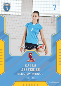 Edgy Light Blue Sports Card Front Female Volleyball Player