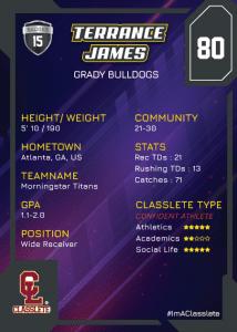 Flow Black Classlete Sports Card Back Male Black Football Player