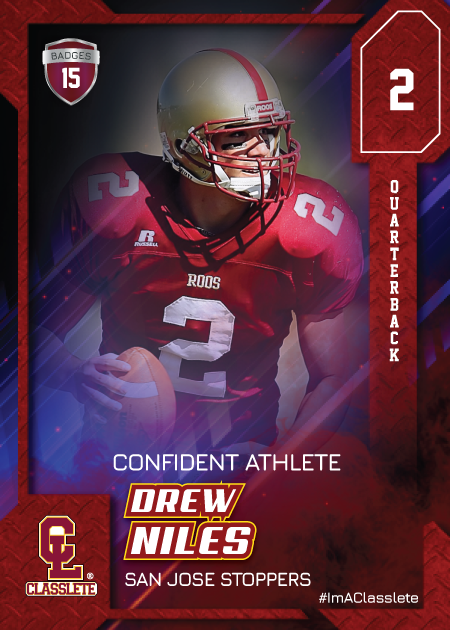Flow Dark Red Classlete Sports Card Front Male Football Quarterback