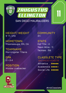 Flow Light Green Classlete Sports Card Back Male Football Player