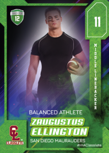 Flow Classlete Sports Card Front Male Football Player