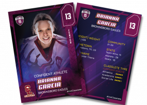 Flow Purple Classlete Sports Card Front Back Female Hockey Player