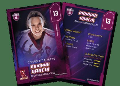 Flow Purple Classlete Sports Card Front Back Female Hockey Player