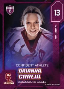Flow Purple Classlete Sports Card Front Female Hockey Player