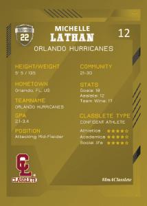 Future Bronze Classlete Sports Card Back Female Soccer Player
