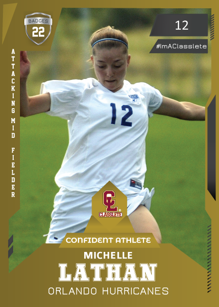 Future Bronze Classlete Sports Card Front Female Soccer Player