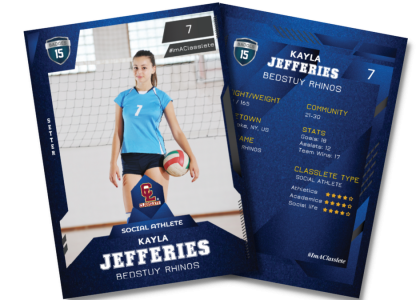 Future Dark Blue Sports Card Front Back Female Volleyball Player
