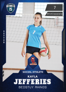 Future Dark Blue Classlete Sports Card Front Female Volleyball Player
