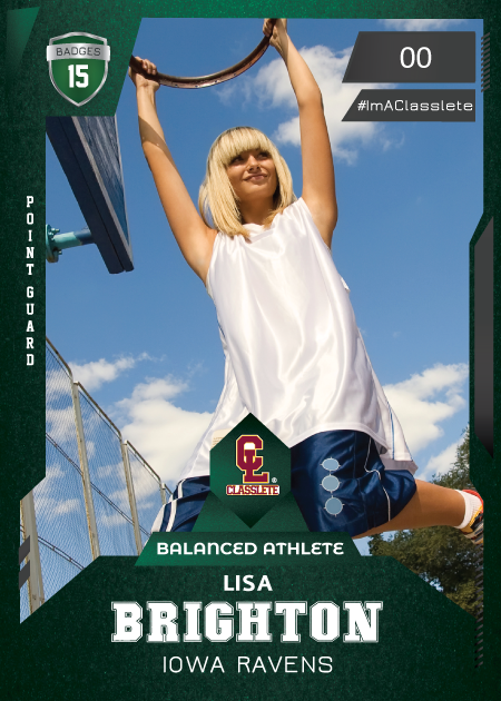 Future Dark Green Classlete Sports Card Front Female Basketball Player