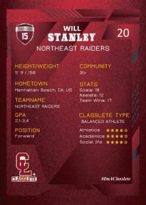 Future Dark Red Classlete Sports Card Back Male Soccer Player