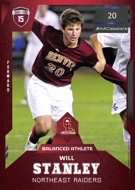 Future Dark Red Classlete Sports Card Front Male White Soccer Player