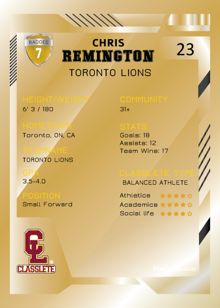 Future Gold Classlete Sports Card Back Male Basketball Player
