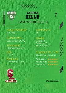 Future Light Green Classlete Sports Card Back Female White Basketball Player
