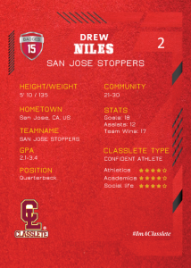 Future Light Red Classlete Sports Card Back Male Football Quarterback