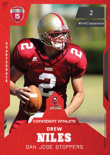 Future Light Red Classlete Sports Card Front Male Football Quarterback
