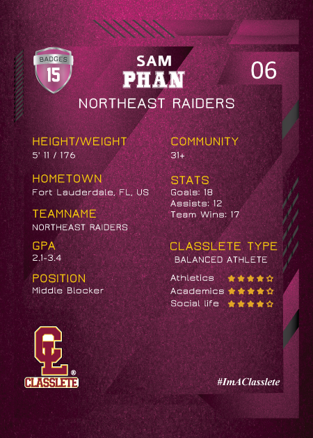 Future Pink Classlete Sports Card Back Male Volleyball Player