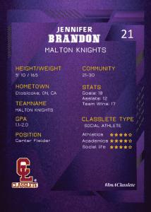 Future Purple Classlete Sports Card Back Female Baseball Player (1)