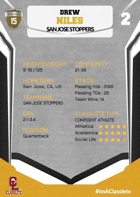 Jersey Bronze Classlete Sports Card Back Male Football Quarterback